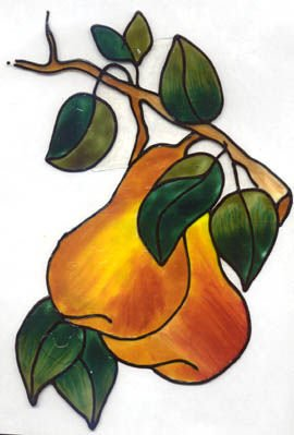 Pear Faux Stained Glass Window Cling Suncatcher Decal