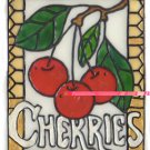 Cherry faux Stained glass window cling suncatcher