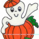 Ghost in a Pumpkin Halloween Faux Stained Glass Cling