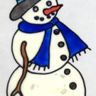 Snowman Faux Stained Glass Window Cling Suncatcher