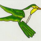 Green and Yellow Hummingbird Faux Window Decal Cling