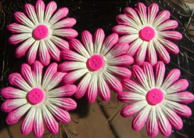 "5 - Pink /Lt. Yellow 1 7/8"" Mulberry Flower w/ pollen"