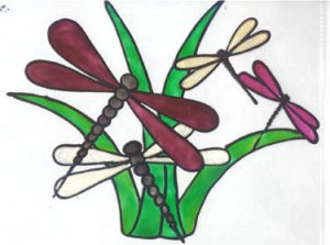 Dragonfly Faux Stained Glass Window Cling Suncatcher
