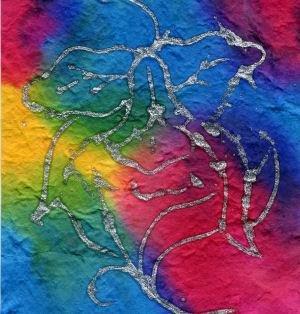 10 Batik with Flowers Heavy Mulberry Paper Tear Bear