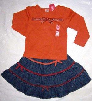 NWT GYMBOREE Harvest Leaves Ribbon Skirt & Top 3T