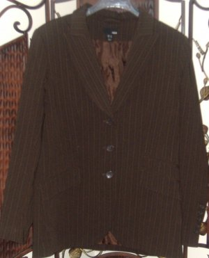 $6***H&M suit jacket brown w. white pinstripes