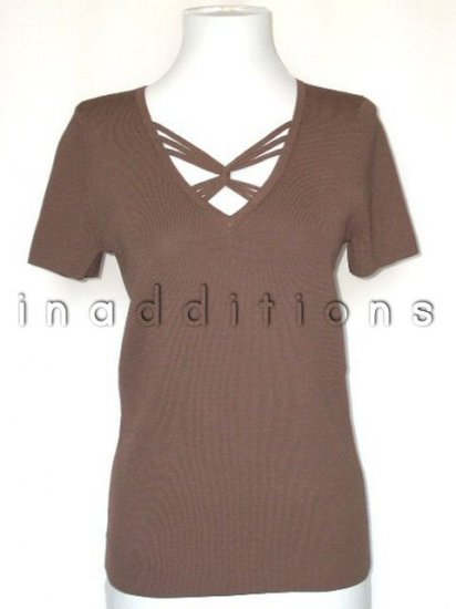 inadditions : New CABLE and GAUGE Viscose V-neck Short Sleeve Mocha Brown Top Shirt Women's Small