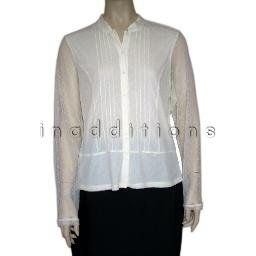 inadditions : New ALFANI Lacy Pintucked Semi Sheer Top Shirt Blouse Women's Petite Large P/L