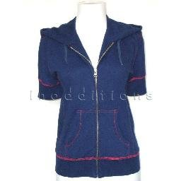 inadditions : New MFG GIRBAUD M.F.G Short Sleeve Zip Front Hoodie Jacket Women's X-small Small