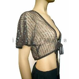 inadditions : New RAMPAGE Sheer Nylon Net Open Tie Front Shrug Top with Sequins Juniors Small