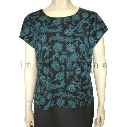 inadditions : New JENNIFER MOORE Nylon Spandex Paisley Print Top Shirt Women's Petite Large