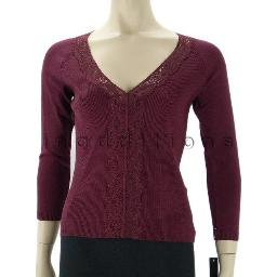 inadditions : New AUGUST SILK Knit V-neck Lace Trim Three-Quarter Sleeve Top Shirt Women's Medium