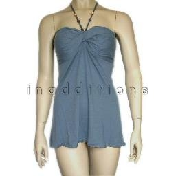 inadditions : New LICORICE Twisted Bodice Halter Style Top Shirt with Smocked Back Juniors Large