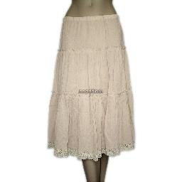 inadditions : New ECI NEW YORK Tiered Crocheted Hem Crinkled Cotton Pull-On Skirt Women's Medium