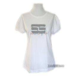 inadditions : New TOMMY HILFIGER Flag Logo White Cotton Puffed Sleeve Top Tee Shirt Women's Large
