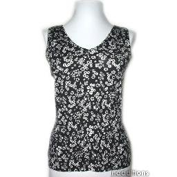 inadditions : New LIZ CLAIBORNE Floral Sleeveless Ribbed Knit V-Neck Top Shirt Women's Medium