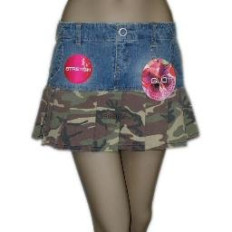 inadditions : New GLO JEANS Camo Pleated Vintage Blue Wash Denim Mini Skirt Juniors 9 Stretch