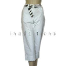 inadditions : New STYLE and CO. Belted White Cotton Lycra Capris Cropped Capri Pants Women�s 4