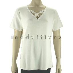 inadditions : New CABLE and GAUGE Ivory V-Neck Short Sleeve Knit Top Shirt Women's Extra Large XL