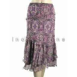 inadditions : New SUNNY LEIGH Sheer Silk Tiered Hem Flounce Pull-On Lined Skirt Women's 12 Large