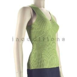 inadditions : New AUGUST SILK Green Sleeveless Stretch Rib Knit V-Neck Top Shirt Women's Large