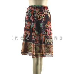 inadditions :  New SUNNY LEIGH Sheer Silk Floral Print Stitched Panel Lined Skirt Women's 8 Medium