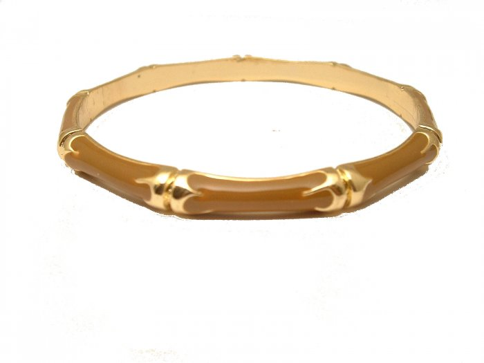 TRENDY CELEBRITY BROWN ENAMEL BAMBOO BANGLE BRACELET