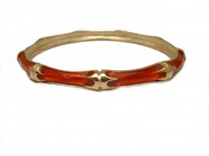 TRENDY CELEBRITY RED ENAMEL BAMBOO BANGLE BRACELET