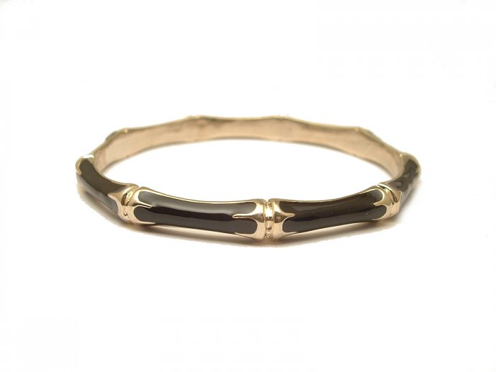 TRENDY CELEBRITY BLACK ENAMEL BAMBOO BANGLE BRACELET