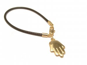 CELEBRITY LEATHER BLACK CORD HAMSA BRACELET *Retail $45