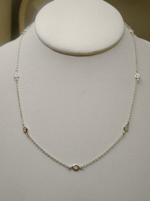 "STERLING 18"" DIAMOND SIMULATED BY THE YARD NECKLACE"