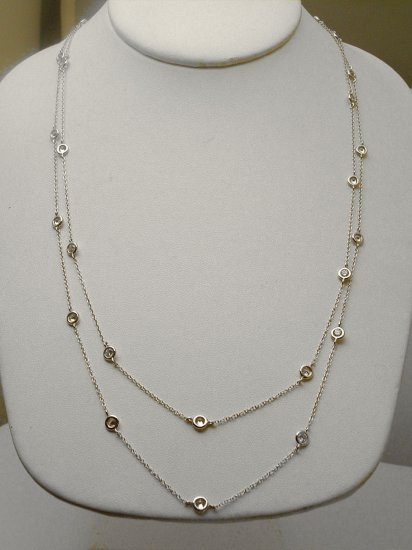 """STERLING 36"""" DIAMOND SIMULATED BY THE YARD NECKLACE"""