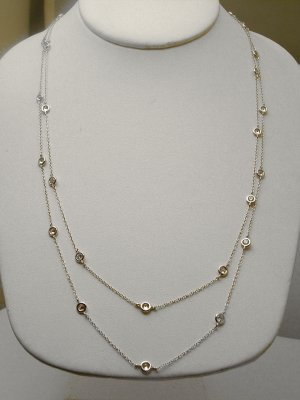 "STERLING 36"" DIAMOND SIMULATED BY THE YARD NECKLACE"