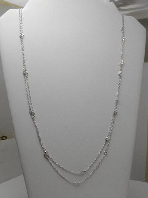 """STERLING 60"""" DIAMOND SIMULATED BY THE YARD NECKLACE"""