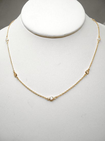 "GOLD VERMEIL 18""DIAMOND SIMULATED BY THE YARD NECKLACE"