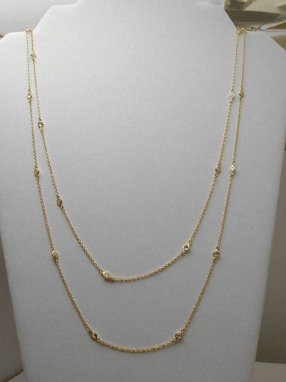 "GOLD VERMEIL 60"" DIAMOND SIMULATED BY THE YARD NECKLACE"