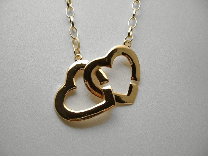 TRENDY CELEBRITY DOUBLE HEART GOLDTONE NECKLACE 24""