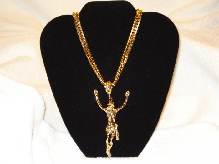 36 inch GOLD Double Curb Necklace Chain with a JUMBO Jesus Pendant Charm ADDED BONUS! BLING HIP HOP