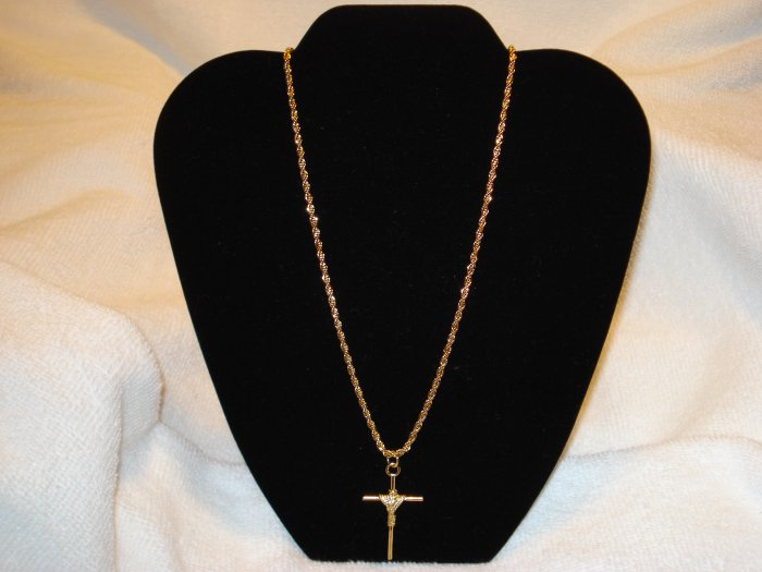 20 INCH ROPE GOLD NECKLACE CHAIN WITH CROSS PENDANT CHARM LIFETIME GUARANTEE!