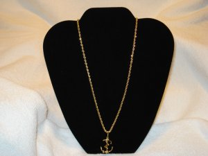 20 INCH GOLD ROPE NECKLACE CHAIN WITH ANCHOR PENDANT CHARM LIFETIME GUARANTEE!