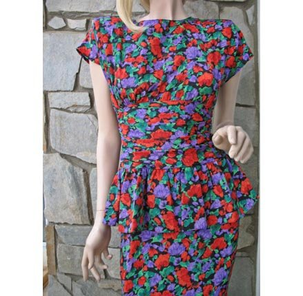 40s inspired Vintage 80s Florals Dress by John Richard of California.
