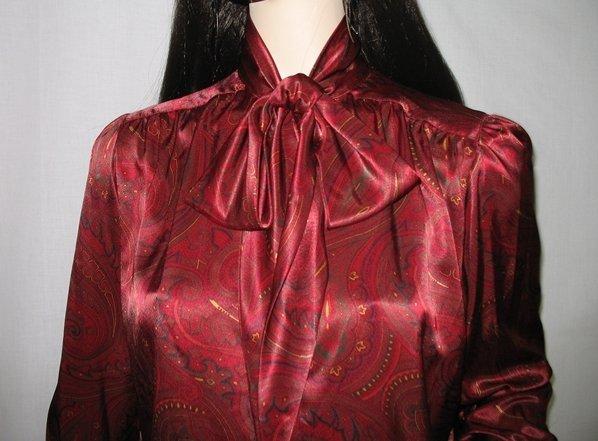 Designer Evan Picone 80s Secretary Blouse Top Large Bow Red Paisley Vintage Ascot Blouse S/M