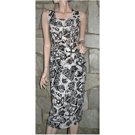 Vintage Ethnic Print Sheath Dress  Size 4