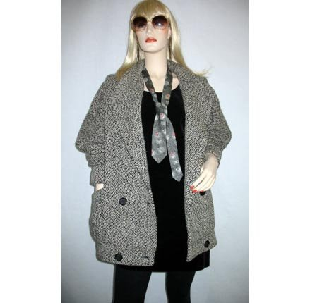 Vintage 70s Punk Look Rocker Tweed Coat Jacket, Tuxedo Front - Size 8