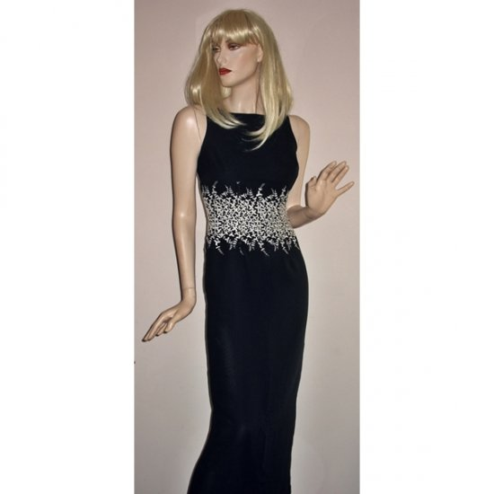 Designer Long Black Evening Gown Dress by Ann Taylor Size 4 Small
