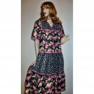 Vintage Hippie Boho Dress Large Florals Size Small Medium