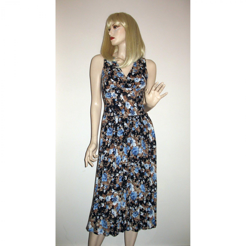Vintage 80s Blue Florals Tea Length Dress Size S Small