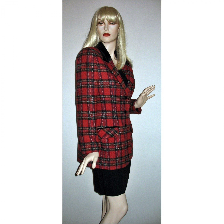 80s Red Plaid Blazer Black Velvet Trim Office Career Jacket  - Large