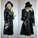 Vintage 60s 70s Trench Coat Black PVC Faux Leather FUR belted trenchcoat Wrap Coat Size L Large