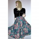 Hand Crafted Vintage Full Flared Skirt, Swing Style, Large Floral Tapestry Print - XS
